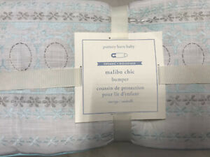 Pottery Barn Kids Embroidered Malibu Chic Crib Bumper White Blue NEW