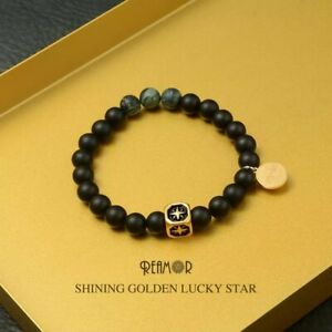 Golden Lucky Star Onyx Black Powerful Protection STONE Bead Bracelet Men Women