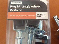 Homebase Peg Fit Single Wheel castors (4 pack) 40mm