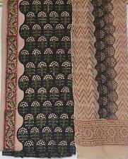 Cotton Bagru dress material for Salwar kameez - Black green beige designer