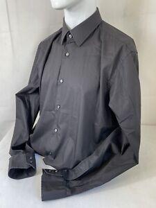 """BOSS - HUGO BOSS - Men's Black Long Sleeve Shirt Collared & Button Up 17"""" Collar"""