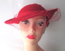 Womens Red Hat Vintage 1980s Southern Belle Feather Veil Bow Michael Howard Wool