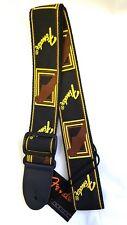 """Fender Monogrammed Guitar Strap Black/Brown/Gold 2""""wide fully adjustable"""