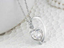 """11 Stone Made with SWAROVSKI® Elements Heart Pendant 18"""" + 2"""" Extender"""