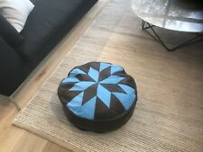 Stunning Turkish Leather Ottoman Pouffe Pouf Footstool In Chocolate and Blue