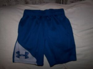 Boys Under Armour Blue/Gray BIG LOGO Shorts with Pockets Size 4