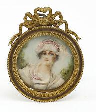 c.1900 Continental Hand Painted Porcelain Miniature Portrait Gilt Bronze Frame