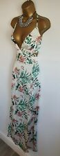 Missguided BNWT Tropical Print Strappy Satin Maxi Dress Lace Up Back green 14