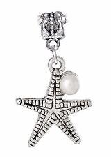 Starfish White Pearl Beach Seashell Sea Dangle Bead for European Charm Bracelets
