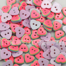 10pcs Watermelon Color Heart Shape Resin Buttons DIY Sewing Craft 12mm