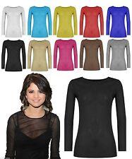 Hip Length Mesh Long Sleeve Casual Tops & Shirts for Women