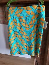 New Lularoe Cassie Skirt Small Blue Teal Orange Geometric 3XL Triangle Lines