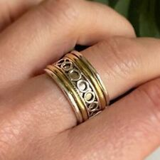 Solid 925 Sterling Silver Band Spinner Ring Meditation Vintage Style Ring cd3001