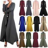 Women Ladies Floaty Flowy Cardi Open Flare Long Trench Jacket Coat Maxi Cardigan