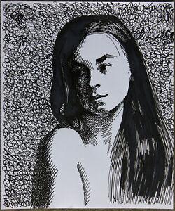Original Female Ink Pen on paper life Drawing pretty Girl woman artwork realism