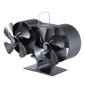 Double Stove Fan for Fireplace Wood Log Burner Twin Blades Heat Powered Eco Fan