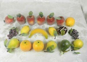 19 Vtg Beaded Sugared Faux Fruits Decorative 9 Fruits Apple Pear Grape Lemon