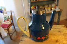 Vintage Dark Blue Enamel Coffee Pot – Flowers Design – Kitchenalia – Retro! –