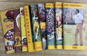 Vintage USC Trojans Football Press Media Guide 1972 to 1980; 9 issues