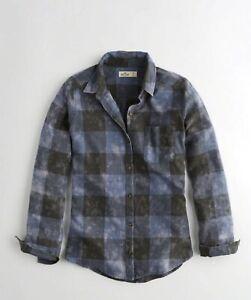 Hollister Womens Oversized Flannel Shirt, Light Blue Plaid - BNWT!