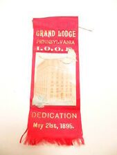 Vintage 1895 ribbon for dedication of Odd Fellows Grand Lodge of Pennsylvania
