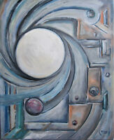 BEYOND THE SUN modern big abstract original art new oil Painting Signed Crowell