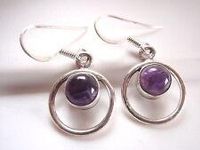 Purple Amethyst Dangle Hoop Earrings 925 Sterling Silver Corona Sun r415pd