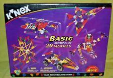 New K'Nex Basic Building Set 20 Models 32003 Color Coded Ages 6+ 375 Pieces