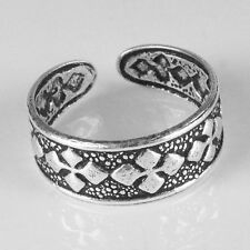 Solid .925 Sterling Oxidized Silver Adjustable Toe Ring (str14)