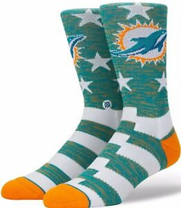 """STANCE socks Miami Dolphins """"DOLPHINS BANNER""""  Large 9-12 NFL Designed In CA"""