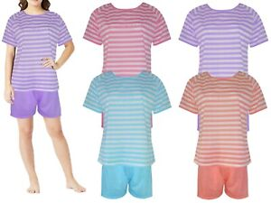 Girls Shorts Pyjamas Set Cotton Women Stripe Summer Lounge wear pjs Night suits