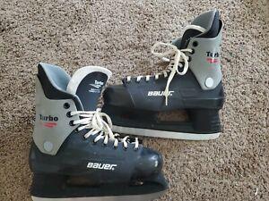 Bauer Turbo Ice Hockey Skates Men's Size 10 Hardened Black.