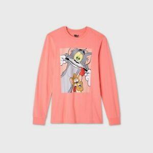 Men's Tom and Jerry Long Sleeve Graphic T-Shirt Pink XL