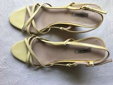 Miu Miu Women Yellow Wedge Patent Leather Sandals Size 8.5 EU 38.5 M***