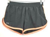 Under Armour Womens Olive Green Drawstring Waist Athletic Shorts Peach Stripes M