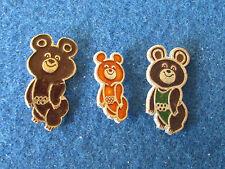 Original Russe badges-Jeux Olympiques de Moscou 1980-Lot de 3-MASCOTTE MISHA