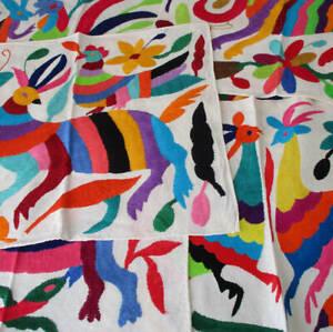 "6 Muslin OTOMI 16"" Placemats FOLK ART Embroidery Colorful BIRDS + Spirit ANIMALS"
