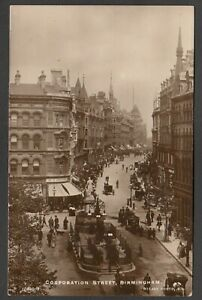 Postcard Birmingham Warwickshire early view of Corporation Street RP by Rotary