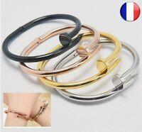 Manchette Bracelet Femme Bijoux Acier Inoxydable Vis Idée Cadeau Mode Argent Or