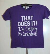 THAT DOES IT I'm Calling My Grandma T Shirt  Youth Medium, Purple