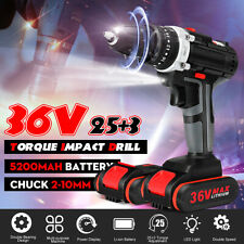 36V 25+3 LED Cordless Electric Impact Drill Driver With 2x5200mAh Li-Ion Battery