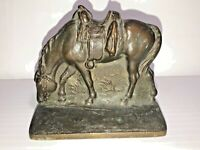 Vintage Heavy Cast Iron Horse in Saddle Bookend See pics, Make offer!