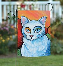 New Toland - Pawcasso White Kitty - Kitten Cat Portrait Garden Flag