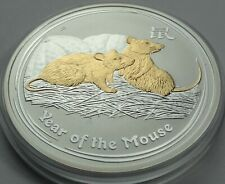 2008 Australia Lunar Series II 1 oz .999 Silver Gilded Year of Mouse RARE !!