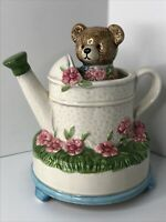 Vintage Otagiri Rotating Bear Watering Can Ceramic Music Box Put On A Happy Face