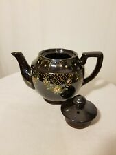 MADE IN OCCUPIED JAPAN brown hand painted floral tea pot w/lid, marked & stamped