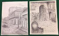 Archie C Boyd Signed New Orleans Prints Brulator Courtyard Bourbon Street NOLA