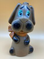 Vintage Blow Mold Plastic Hound Dog Bank Brown, made In Hong Kong