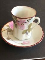 Vintage Antique Nippon Hand Painted Floral Cup And Saucer