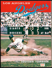 1963 LOS ANGELES DODGERS YEARBOOK - MAURY WILLS COVER - CLEAN, NICE